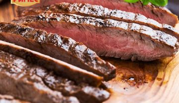 Juicy, aromatic and crispy beef steak